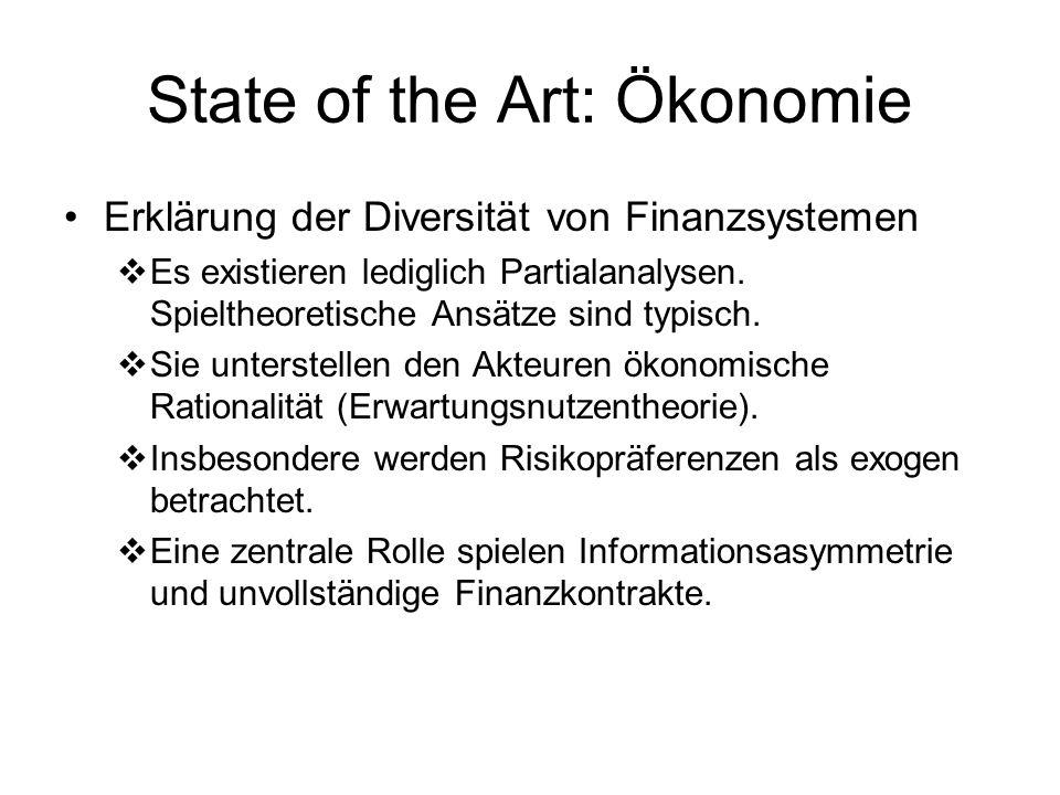 State of the Art: Soziologie Zusammenhang zwischen FS, Stabilität und Realwirtschaft Theoretische Arbeiten basieren auf Makro- Modellen mit Schwerpunkt auf Verflechtungsstrukturen und Marktmacht (Deutschland AG).