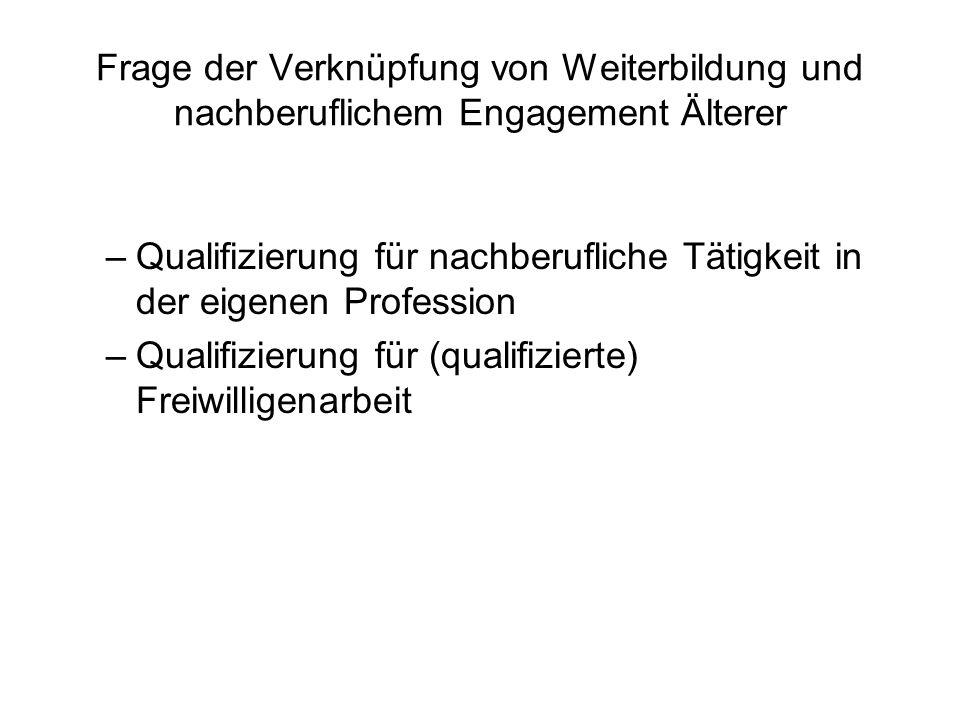Frage der Verknüpfung von Weiterbildung und nachberuflichem Engagement Älterer –Qualifizierung für nachberufliche Tätigkeit in der eigenen Profession –Qualifizierung für (qualifizierte) Freiwilligenarbeit