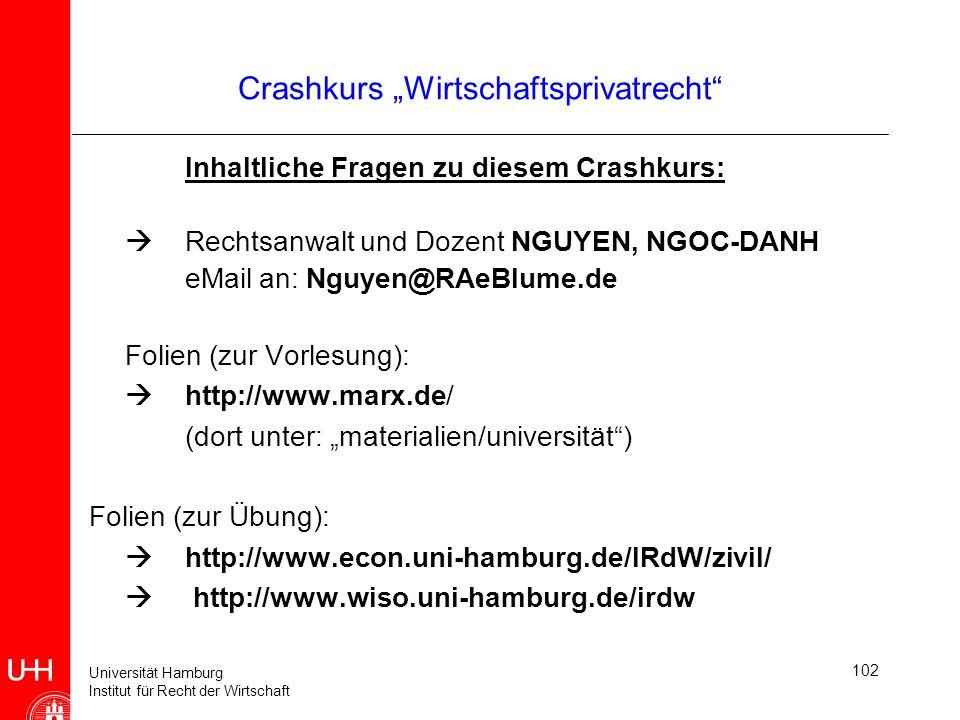 Universität Hamburg Institut für Recht der Wirtschaft 102 Inhaltliche Fragen zu diesem Crashkurs: Rechtsanwalt und Dozent NGUYEN, NGOC-DANH eMail an:
