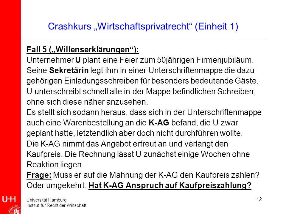 Universität Hamburg Institut für Recht der Wirtschaft 12 Crashkurs Wirtschaftsprivatrecht (Einheit 1) Fall 5 (Willenserklärungen): Unternehmer U plant