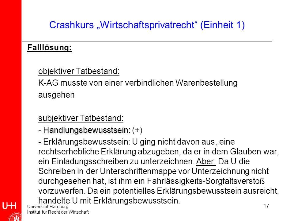 Universität Hamburg Institut für Recht der Wirtschaft 17 Crashkurs Wirtschaftsprivatrecht (Einheit 1) Falllösung: objektiver Tatbestand: K-AG musste v
