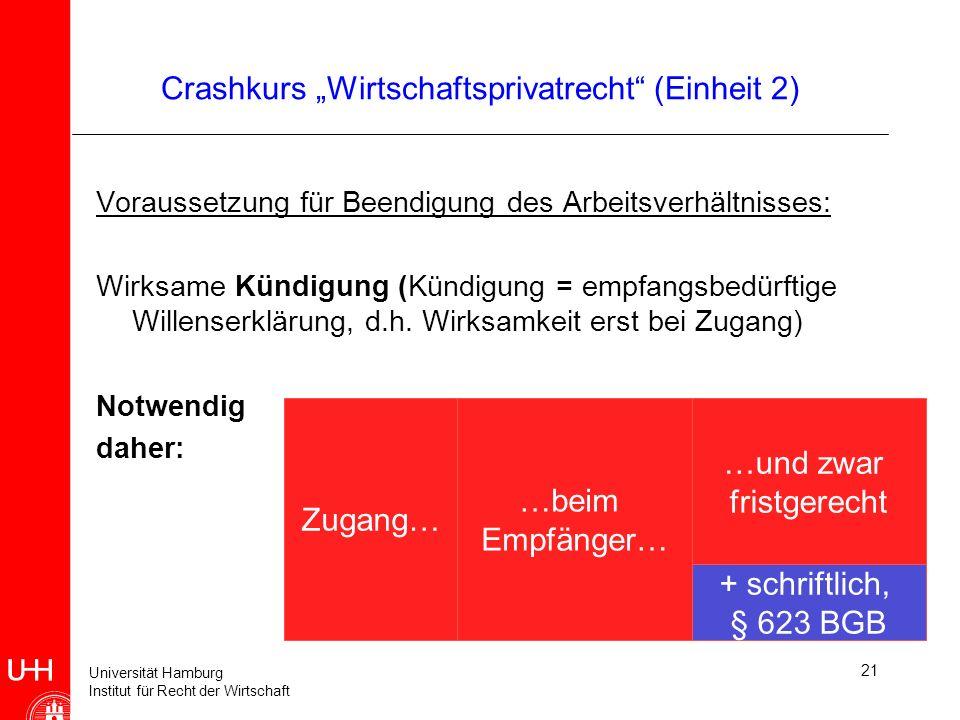 Universität Hamburg Institut für Recht der Wirtschaft 21 Crashkurs Wirtschaftsprivatrecht (Einheit 2) Voraussetzung für Beendigung des Arbeitsverhältn