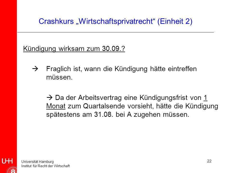 Universität Hamburg Institut für Recht der Wirtschaft 22 Crashkurs Wirtschaftsprivatrecht (Einheit 2) Kündigung wirksam zum 30.09.? Fraglich ist, wann