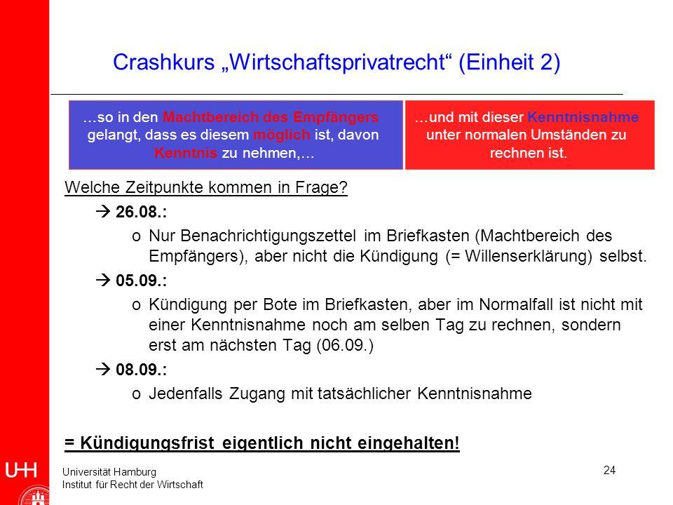 Universität Hamburg Institut für Recht der Wirtschaft 24 Crashkurs Wirtschaftsprivatrecht (Einheit 2) …so in den Machtbereich des Empfängers gelangt,