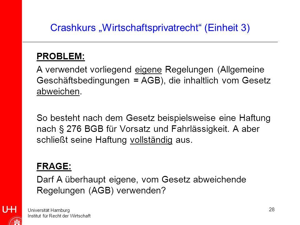 Universität Hamburg Institut für Recht der Wirtschaft 28 Crashkurs Wirtschaftsprivatrecht (Einheit 3) PROBLEM: A verwendet vorliegend eigene Regelunge