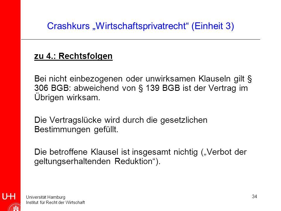 Universität Hamburg Institut für Recht der Wirtschaft 34 Crashkurs Wirtschaftsprivatrecht (Einheit 3) zu 4.: Rechtsfolgen Bei nicht einbezogenen oder
