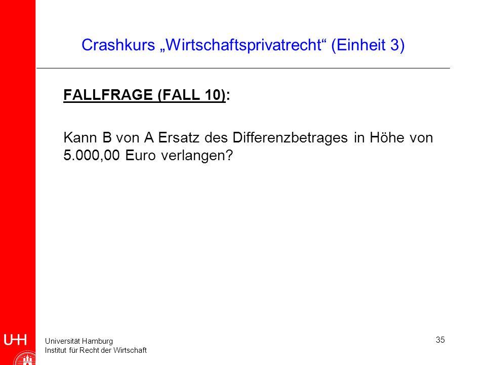 Universität Hamburg Institut für Recht der Wirtschaft 35 Crashkurs Wirtschaftsprivatrecht (Einheit 3) FALLFRAGE (FALL 10): Kann B von A Ersatz des Dif
