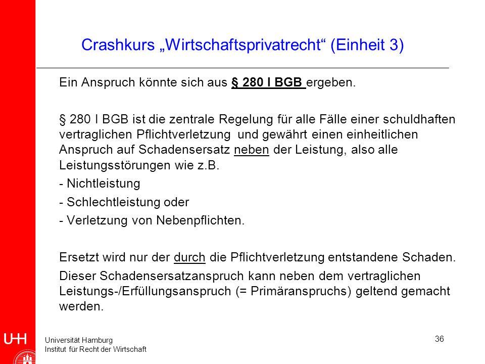 Universität Hamburg Institut für Recht der Wirtschaft 36 Crashkurs Wirtschaftsprivatrecht (Einheit 3) Ein Anspruch könnte sich aus § 280 I BGB ergeben
