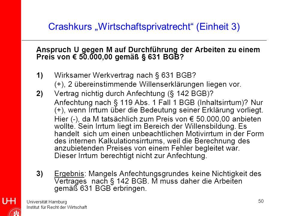 Universität Hamburg Institut für Recht der Wirtschaft 50 Crashkurs Wirtschaftsprivatrecht (Einheit 3) Anspruch U gegen M auf Durchführung der Arbeiten