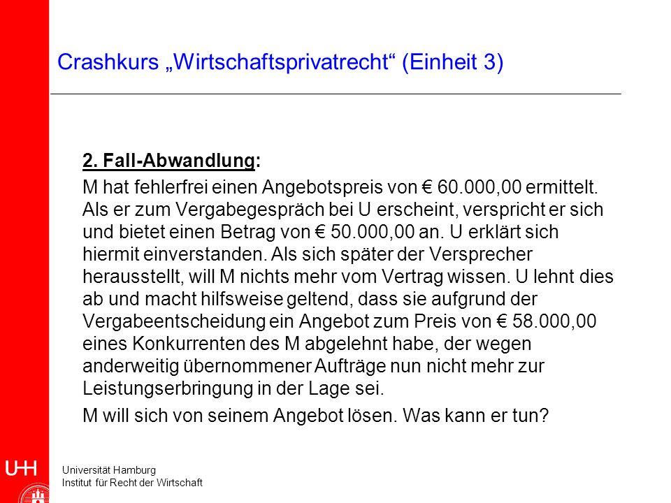 Universität Hamburg Institut für Recht der Wirtschaft Crashkurs Wirtschaftsprivatrecht (Einheit 3) 2. Fall-Abwandlung: M hat fehlerfrei einen Angebots