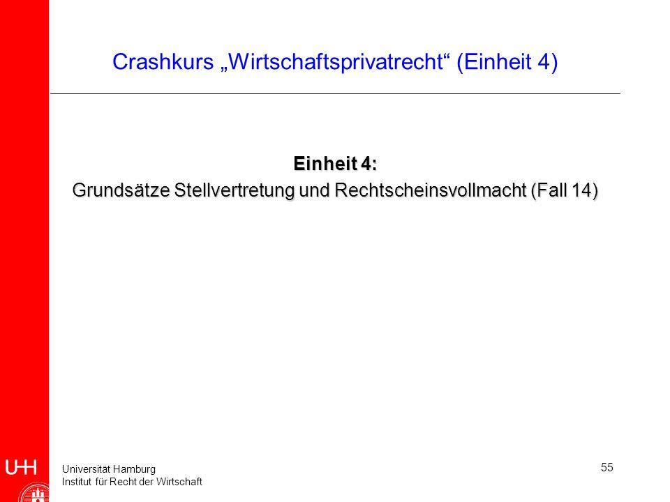 Universität Hamburg Institut für Recht der Wirtschaft Crashkurs Wirtschaftsprivatrecht (Einheit 4) Einheit 4: Grundsätze Stellvertretung und Rechtsche
