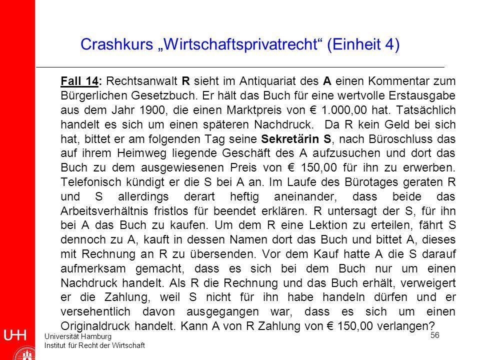 Universität Hamburg Institut für Recht der Wirtschaft 56 Crashkurs Wirtschaftsprivatrecht (Einheit 4) Fall 14: Rechtsanwalt R sieht im Antiquariat des