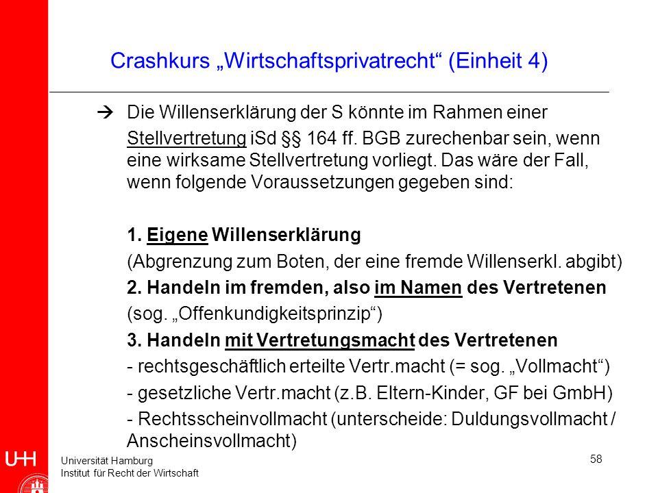 Universität Hamburg Institut für Recht der Wirtschaft 58 Crashkurs Wirtschaftsprivatrecht (Einheit 4) Die Willenserklärung der S könnte im Rahmen eine
