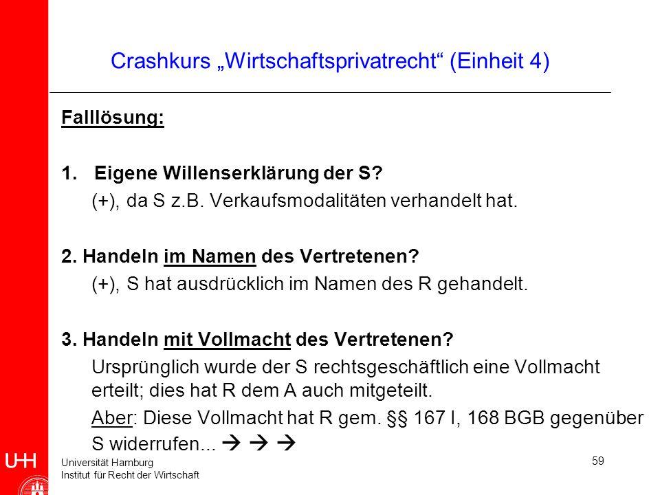 Universität Hamburg Institut für Recht der Wirtschaft 59 Crashkurs Wirtschaftsprivatrecht (Einheit 4) Falllösung: 1.Eigene Willenserklärung der S? (+)