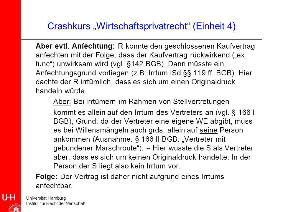 Universität Hamburg Institut für Recht der Wirtschaft Crashkurs Wirtschaftsprivatrecht (Einheit 4) Aber evtl. Anfechtung: R könnte den geschlossenen K