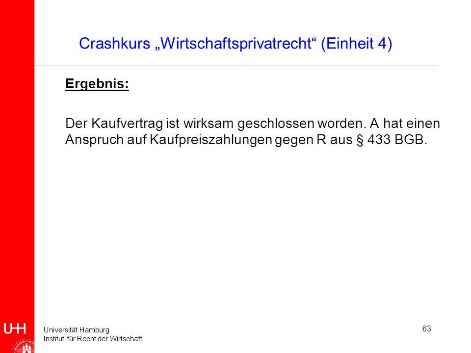Universität Hamburg Institut für Recht der Wirtschaft 63 Crashkurs Wirtschaftsprivatrecht (Einheit 4) Ergebnis: Der Kaufvertrag ist wirksam geschlosse
