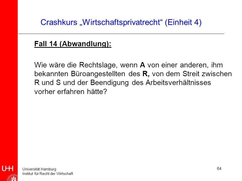 Universität Hamburg Institut für Recht der Wirtschaft 64 Crashkurs Wirtschaftsprivatrecht (Einheit 4) Fall 14 (Abwandlung): Wie wäre die Rechtslage, w