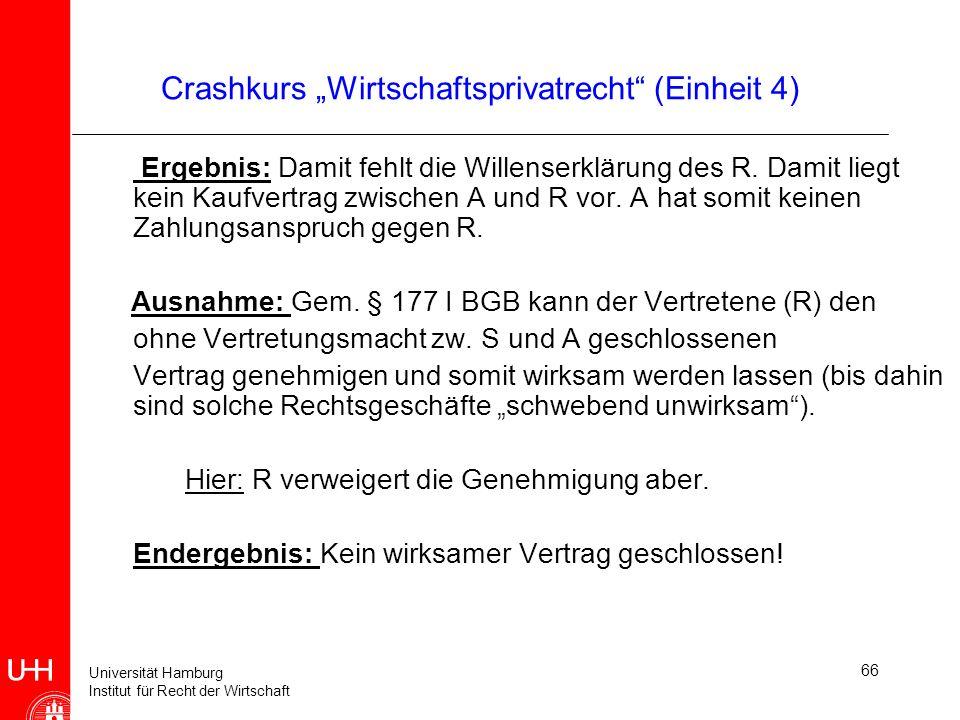 Universität Hamburg Institut für Recht der Wirtschaft 66 Crashkurs Wirtschaftsprivatrecht (Einheit 4) Ergebnis: Damit fehlt die Willenserklärung des R