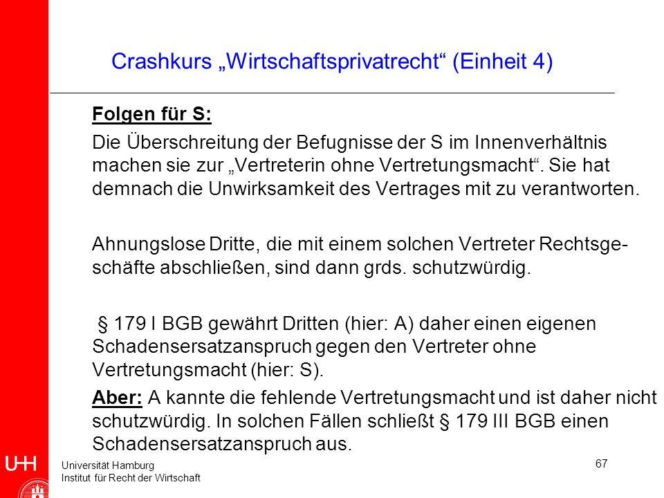 Universität Hamburg Institut für Recht der Wirtschaft 67 Crashkurs Wirtschaftsprivatrecht (Einheit 4) Folgen für S: Die Überschreitung der Befugnisse