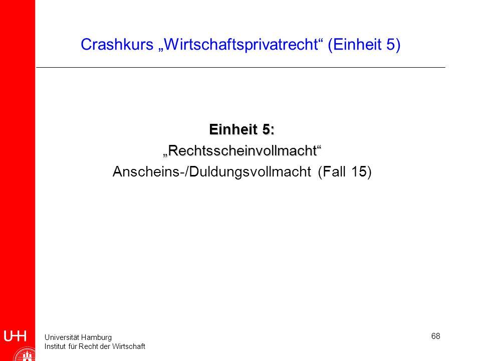Universität Hamburg Institut für Recht der Wirtschaft 68 Crashkurs Wirtschaftsprivatrecht (Einheit 5) Einheit 5: Rechtsscheinvollmacht Anscheins-/Duld