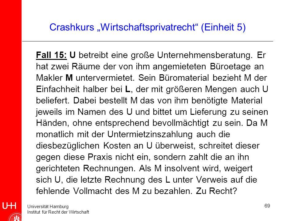 Universität Hamburg Institut für Recht der Wirtschaft 69 Crashkurs Wirtschaftsprivatrecht (Einheit 5) Fall 15: U betreibt eine große Unternehmensberat