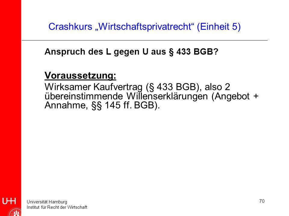 Universität Hamburg Institut für Recht der Wirtschaft 70 Crashkurs Wirtschaftsprivatrecht (Einheit 5) Anspruch des L gegen U aus § 433 BGB? Voraussetz