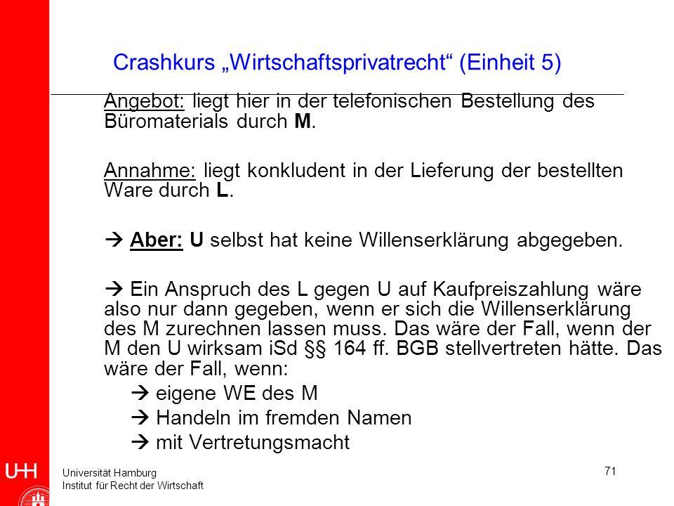 Universität Hamburg Institut für Recht der Wirtschaft 71 Crashkurs Wirtschaftsprivatrecht (Einheit 5) Angebot: liegt hier in der telefonischen Bestell