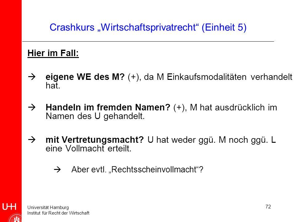 Universität Hamburg Institut für Recht der Wirtschaft 72 Crashkurs Wirtschaftsprivatrecht (Einheit 5) Hier im Fall: eigene WE des M? (+), da M Einkauf