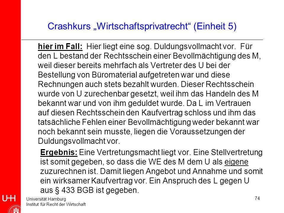 Universität Hamburg Institut für Recht der Wirtschaft 74 Crashkurs Wirtschaftsprivatrecht (Einheit 5) hier im Fall: Hier liegt eine sog. Duldungsvollm