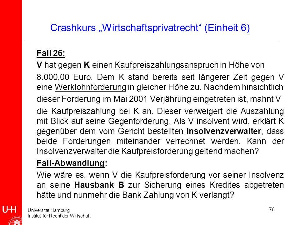 Universität Hamburg Institut für Recht der Wirtschaft 76 Crashkurs Wirtschaftsprivatrecht (Einheit 6) Fall 26: V hat gegen K einen Kaufpreiszahlungsan