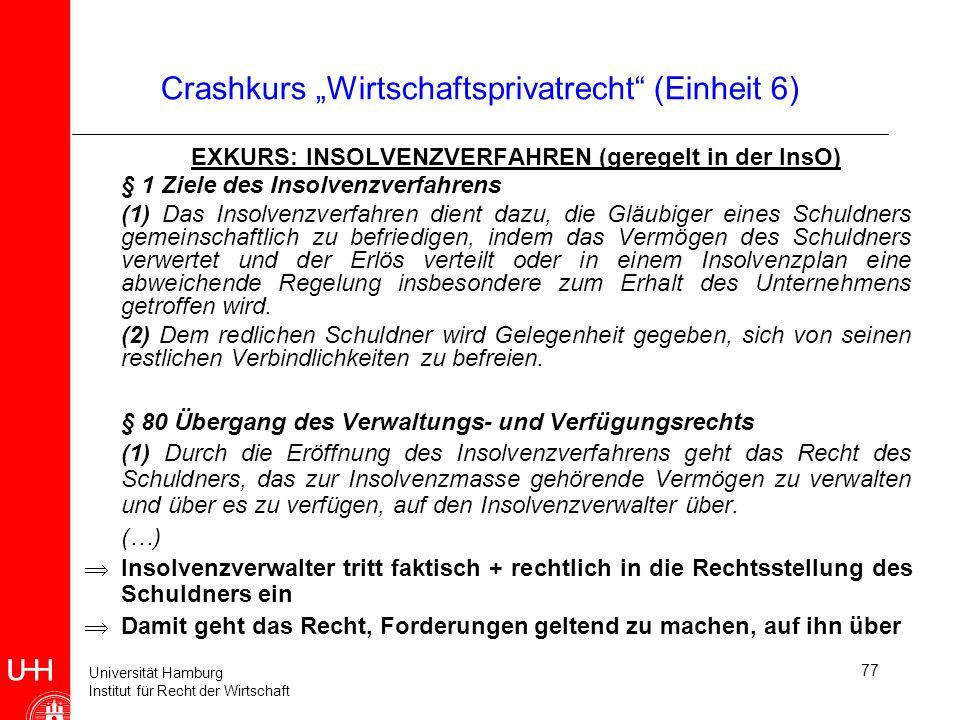 Universität Hamburg Institut für Recht der Wirtschaft 77 Crashkurs Wirtschaftsprivatrecht (Einheit 6) EXKURS: INSOLVENZVERFAHREN (geregelt in der InsO