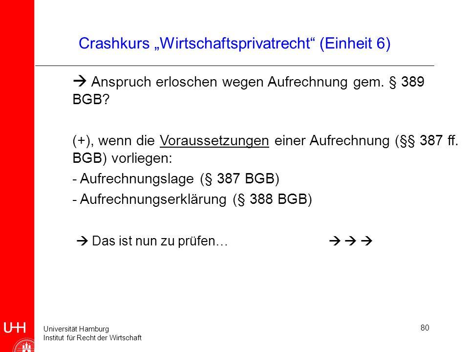 Universität Hamburg Institut für Recht der Wirtschaft 80 Crashkurs Wirtschaftsprivatrecht (Einheit 6) Anspruch erloschen wegen Aufrechnung gem. § 389