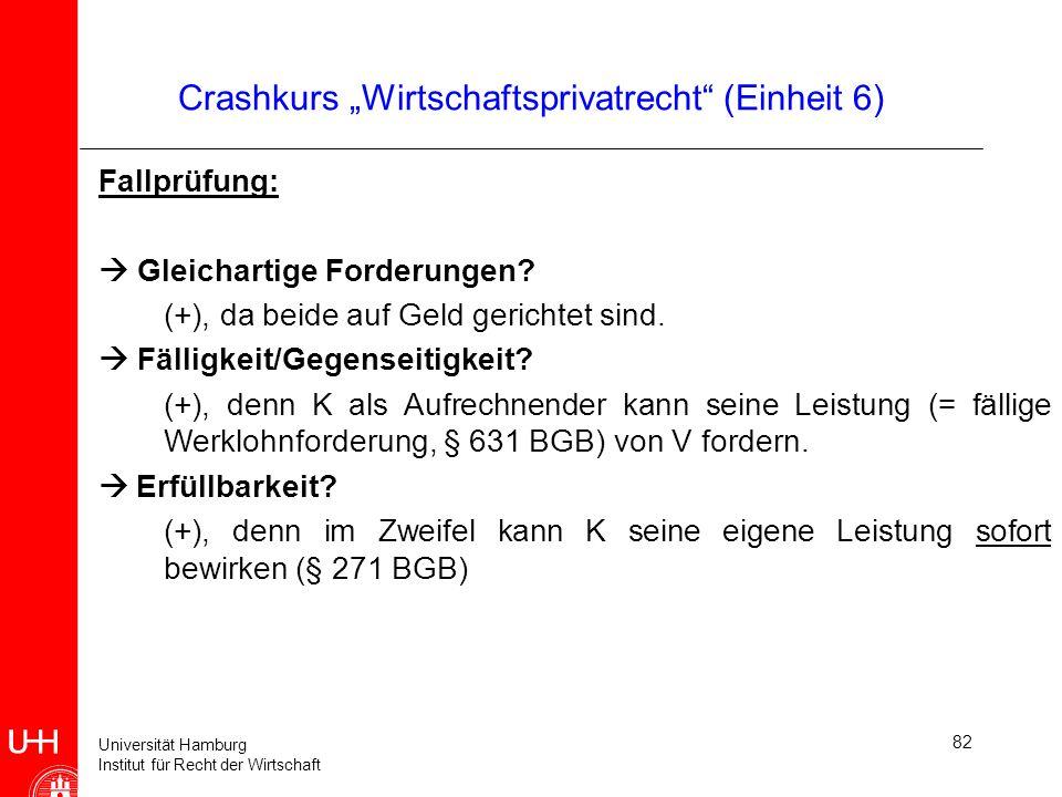 Universität Hamburg Institut für Recht der Wirtschaft 82 Crashkurs Wirtschaftsprivatrecht (Einheit 6) Fallprüfung: Gleichartige Forderungen? (+), da b