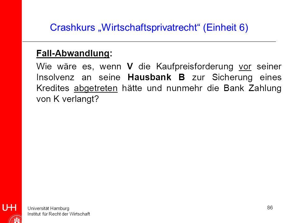 Universität Hamburg Institut für Recht der Wirtschaft 86 Crashkurs Wirtschaftsprivatrecht (Einheit 6) Fall-Abwandlung: Wie wäre es, wenn V die Kaufpre