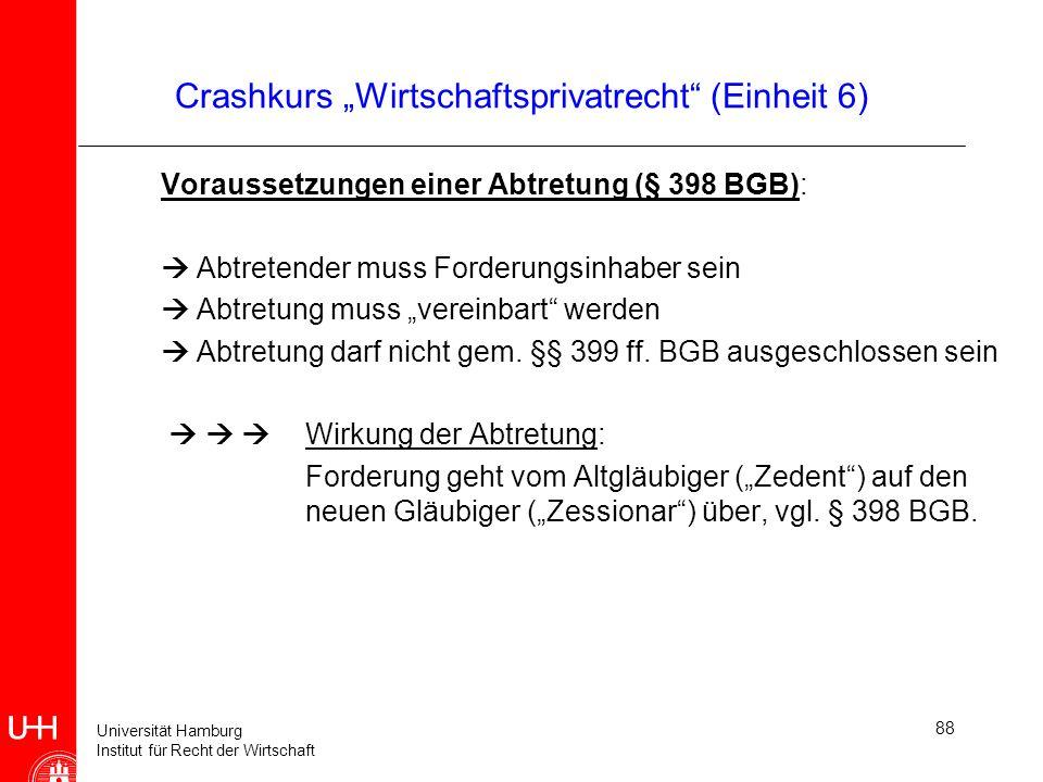 Universität Hamburg Institut für Recht der Wirtschaft 88 Crashkurs Wirtschaftsprivatrecht (Einheit 6) Voraussetzungen einer Abtretung (§ 398 BGB): Abt