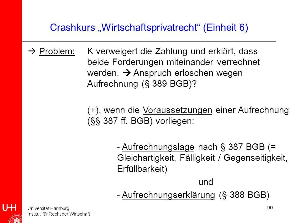 Universität Hamburg Institut für Recht der Wirtschaft 90 Crashkurs Wirtschaftsprivatrecht (Einheit 6) Problem: K verweigert die Zahlung und erklärt, d