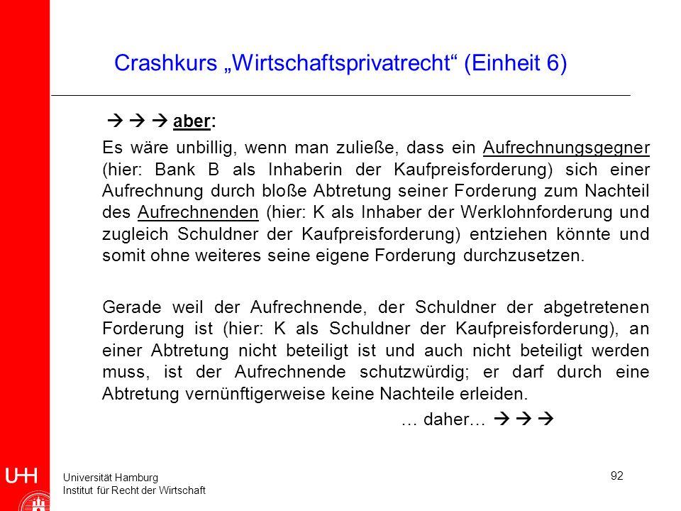 Universität Hamburg Institut für Recht der Wirtschaft 92 Crashkurs Wirtschaftsprivatrecht (Einheit 6) aber: Es wäre unbillig, wenn man zuließe, dass e