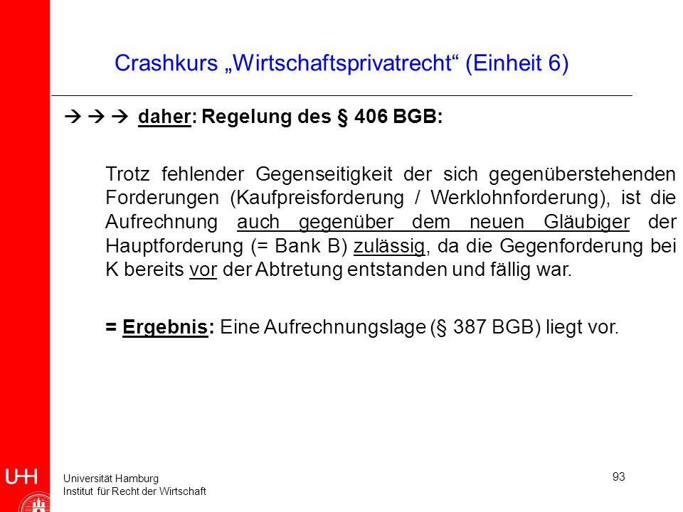 Universität Hamburg Institut für Recht der Wirtschaft 93 Crashkurs Wirtschaftsprivatrecht (Einheit 6) daher: Regelung des § 406 BGB: Trotz fehlender G