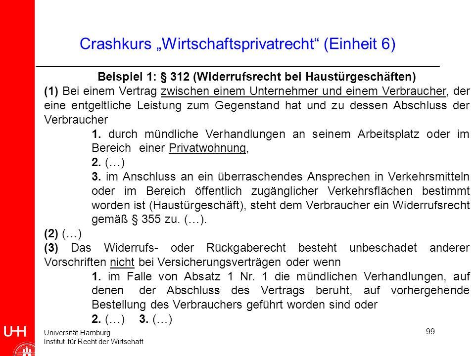 Universität Hamburg Institut für Recht der Wirtschaft 99 Crashkurs Wirtschaftsprivatrecht (Einheit 6) Beispiel 1: § 312 (Widerrufsrecht bei Haustürges