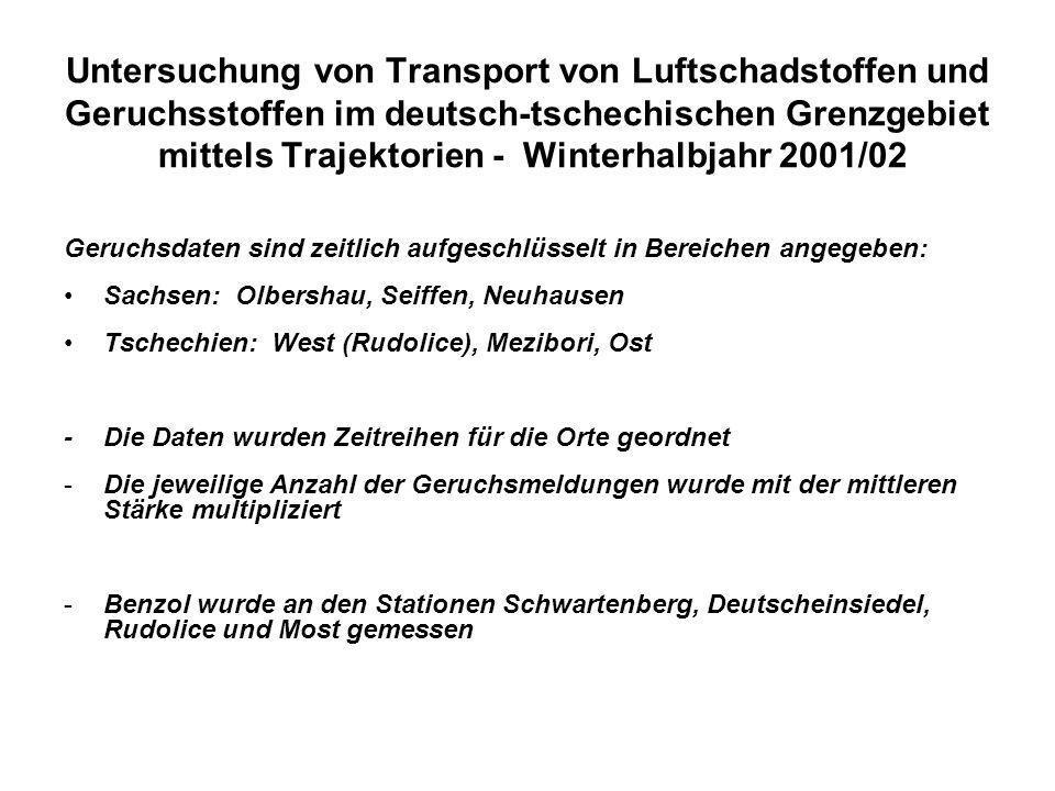 Untersuchung von Transport von Luftschadstoffen und Geruchsstoffen im deutsch-tschechischen Grenzgebiet mittels Trajektorien - Winterhalbjahr 2001/02