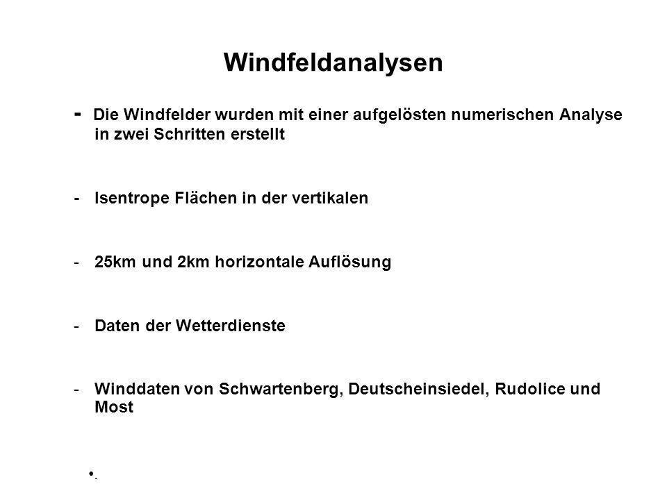 Windfeldanalysen - Die Windfelder wurden mit einer aufgelösten numerischen Analyse in zwei Schritten erstellt -Isentrope Flächen in der vertikalen -25km und 2km horizontale Auflösung -Daten der Wetterdienste -Winddaten von Schwartenberg, Deutscheinsiedel, Rudolice und Most.