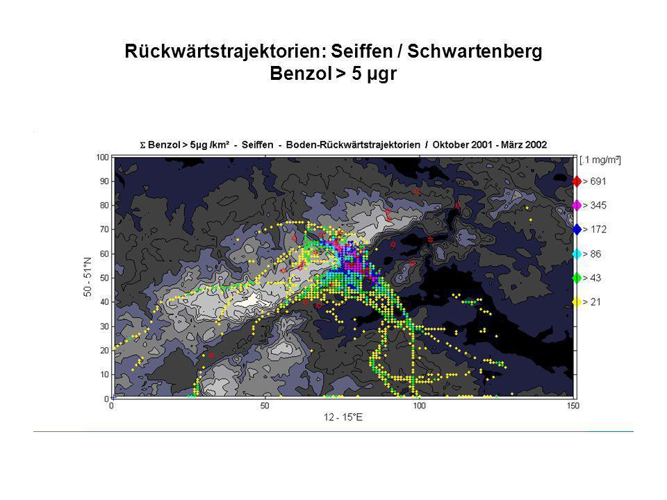 Rückwärtstrajektorien: Seiffen / Schwartenberg Benzol > 5 µgr