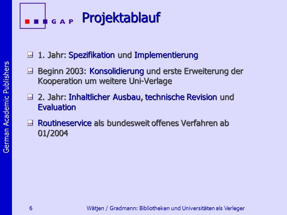 German Academic Publishers 6 Wätjen / Gradmann: Bibliotheken und Universitäten als VerlegerProjektablauf 1.