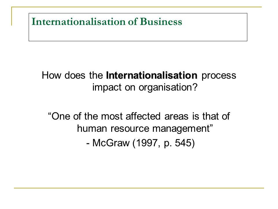 Internationalisation of Business Internationalisation How does the Internationalisation process impact on organisation.