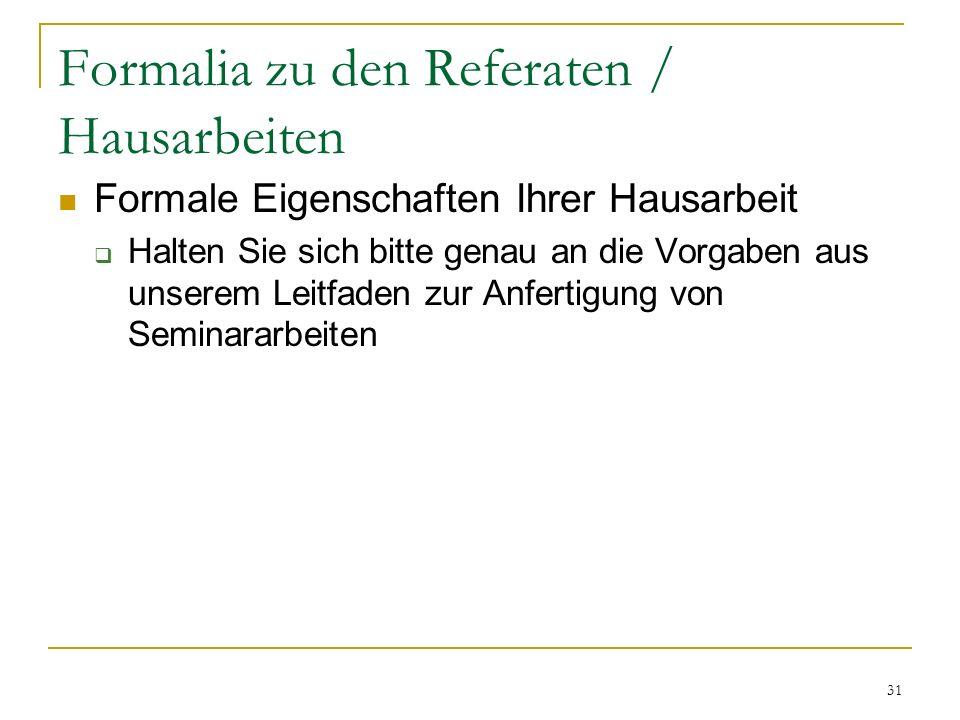 Formalia zu den Referaten / Hausarbeiten Fristen Abgabe: Freitag, 20. November 2009; 12:00 im Sekretariat des Instituts An diesem Tag sind sowohl die