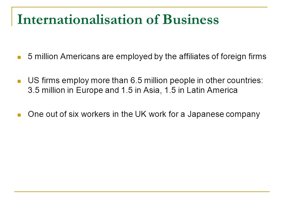 Domestic Operations Export Operations Joint ventures, Subsidiaries Multinational operations Transnational Operations
