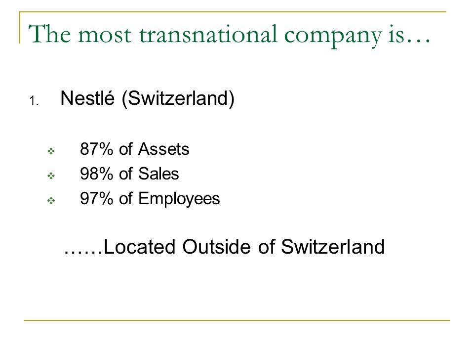 The most transnational companies are… 1. Nestlé (Switzerland) 2. Thomson (Canada) 3. Holderbank Financière (Switzerland) 4. Seagram (Canada) 5. Solvay