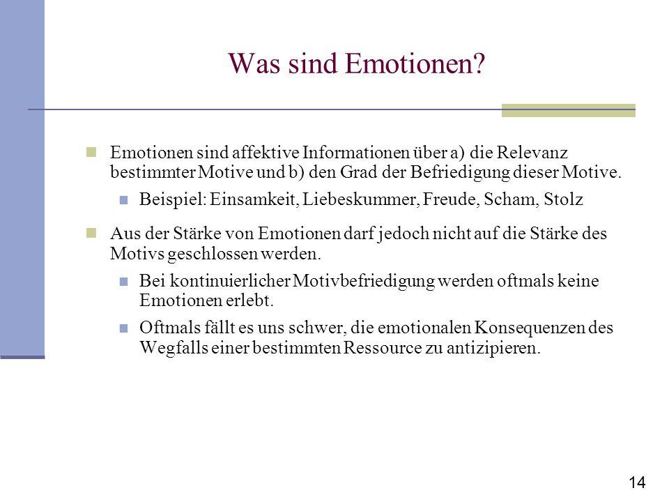 14 Was sind Emotionen? Emotionen sind affektive Informationen über a) die Relevanz bestimmter Motive und b) den Grad der Befriedigung dieser Motive. B