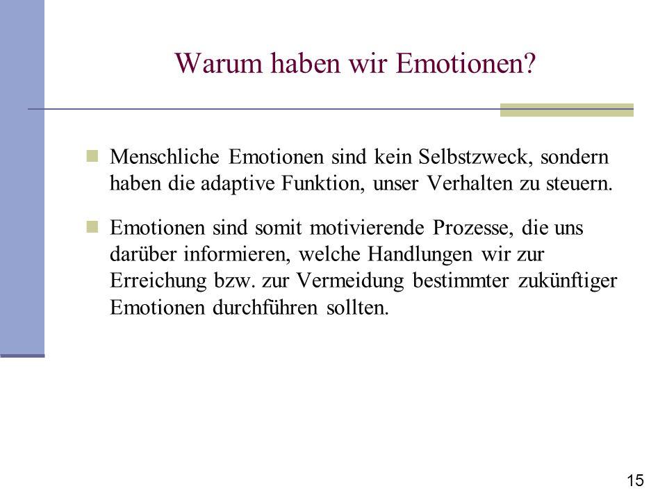 15 Warum haben wir Emotionen? Menschliche Emotionen sind kein Selbstzweck, sondern haben die adaptive Funktion, unser Verhalten zu steuern. Emotionen