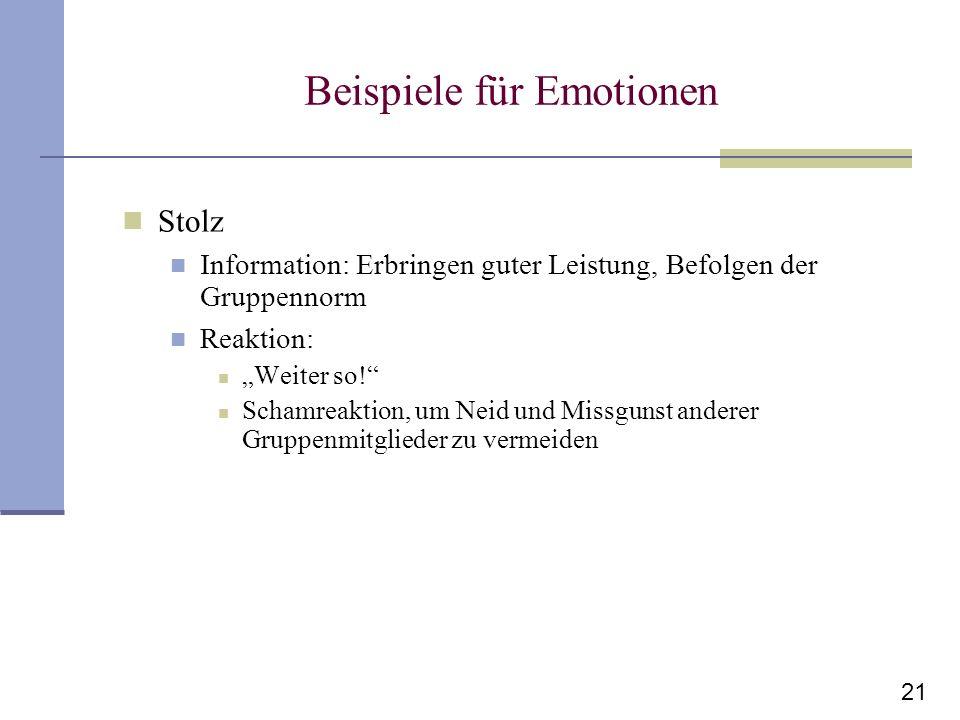 21 Beispiele für Emotionen Stolz Information: Erbringen guter Leistung, Befolgen der Gruppennorm Reaktion: Weiter so! Schamreaktion, um Neid und Missg